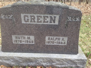 Ralph and Ruth Green tombstone