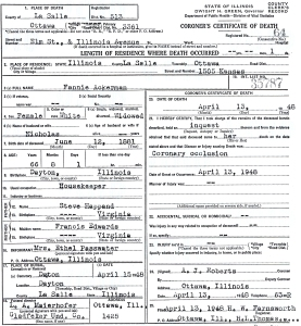Fannie Ackerman death ceertificate