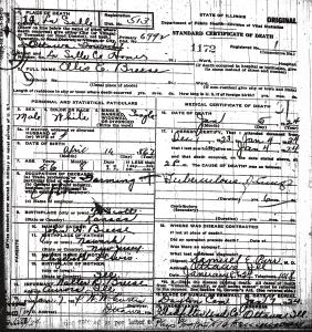 Breese, Ellis E death certificate