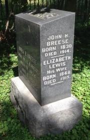 John & Elizabeth Breese tombstone