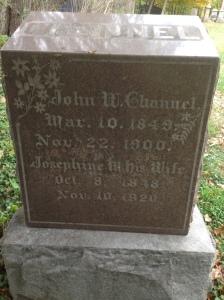 John W and Josephine Channel, tombtone