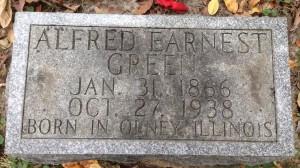 Alfred Earnest Green, tombstone