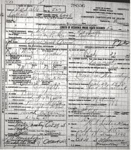 Alfred E. Green death certificate