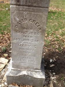 David and Mary Green tombstone
