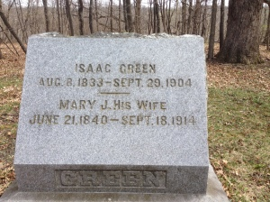 Isaac and Mary Jane Green tombstone