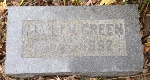 Maud V Green, tombstone