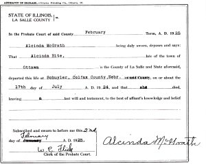 photo of document with Hite, Alcinda - death date