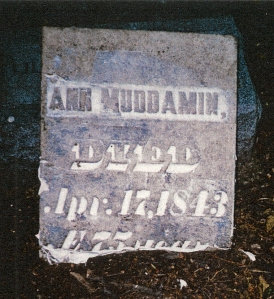 picture of Ann Muddamin tombstone