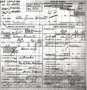 Bennett, Ellen Zima - death certificate