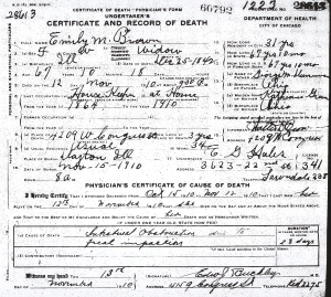 Brown, Emily M - death certificate