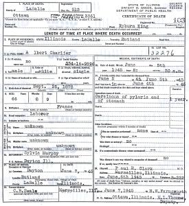 Charlier, Albert - death certificate