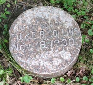 Collins infant's tombstone