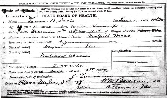 Davis, Laura B - death certificate