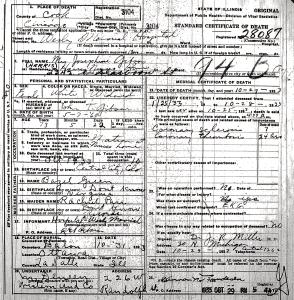 Gibson, Josephine - death certificate