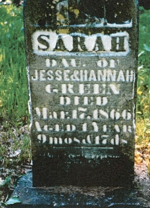 photo of Green, Sarah (child) - tombstone