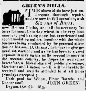 Green's Mills ad