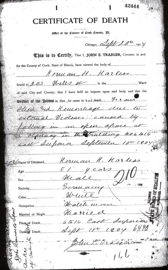 Harless, Herman H - death certificate