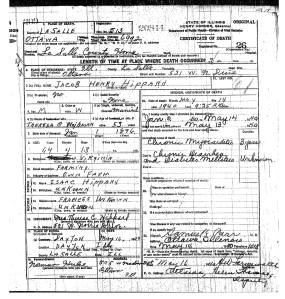 Hippard, Jacob Henry - death certificate