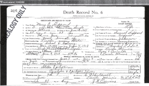 Hippard, Mary E - death certificate