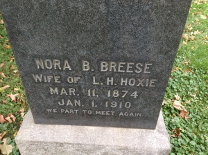 Nora B Breese Hoxie, tombstone