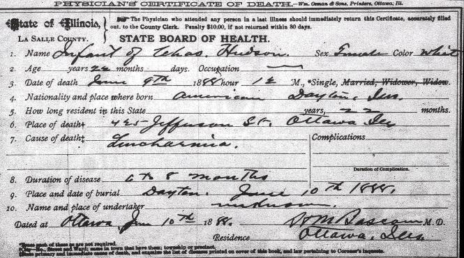 Hudson, Charles, infant daughter - death certificate