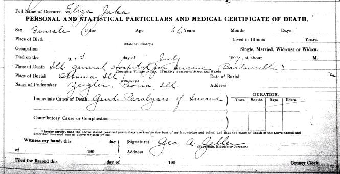 Jaka, Eliza - death certificate