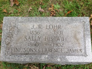 J W and Sally Lohr, sons Clarence, James tombstone