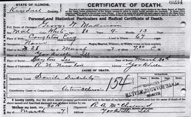 Makinson, George W - death certificate