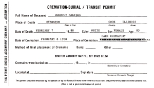 document showing Masters, Dorothy - death date