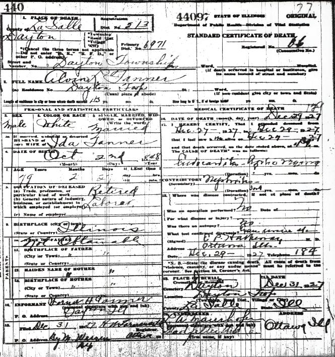Tanner, Alvin - death certificate
