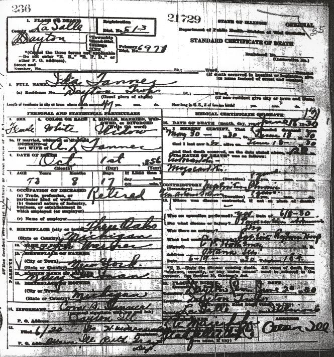 Tanner, Ida - death certificate