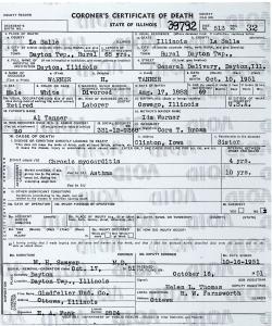 Tanner, Warner H - death certificate
