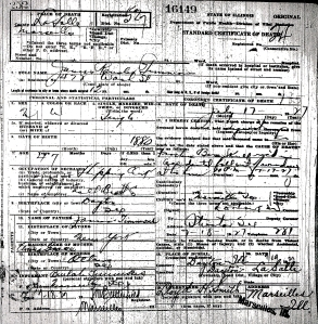 Timmons, James Ransler - death certificate