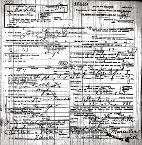 Timmons, James Ransler - death certificate