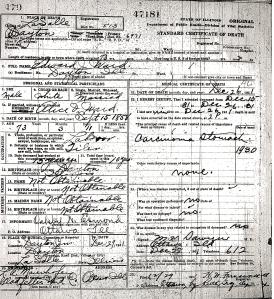 Ward, Edward J - death certificate