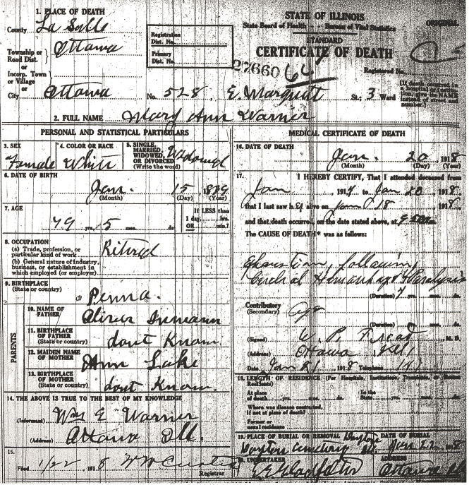 Warner, Mary Ann - death certificate
