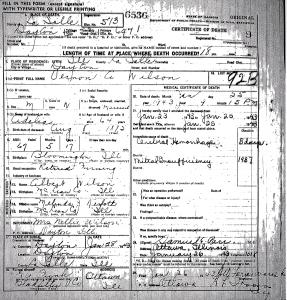 Wilson, Vernon - death certificate
