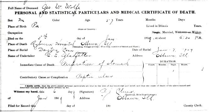 Wolfe, George W - death certificate