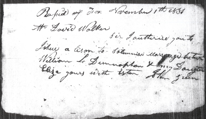 1831 Dunavan-Green marriage permission