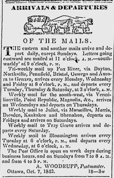 newspaper listing of early mails