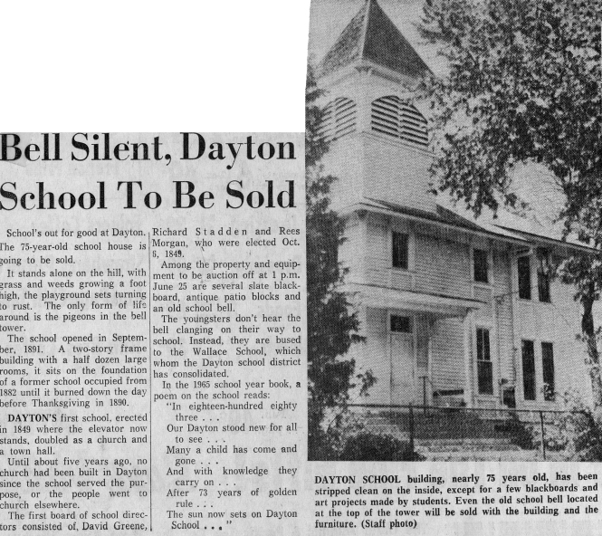 newspaper clipping - end of Dayton school