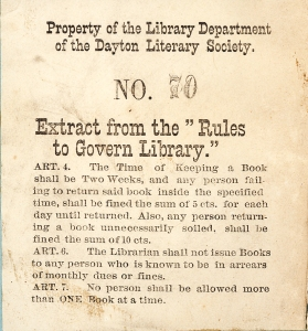 Book label - Dayton Literary Society