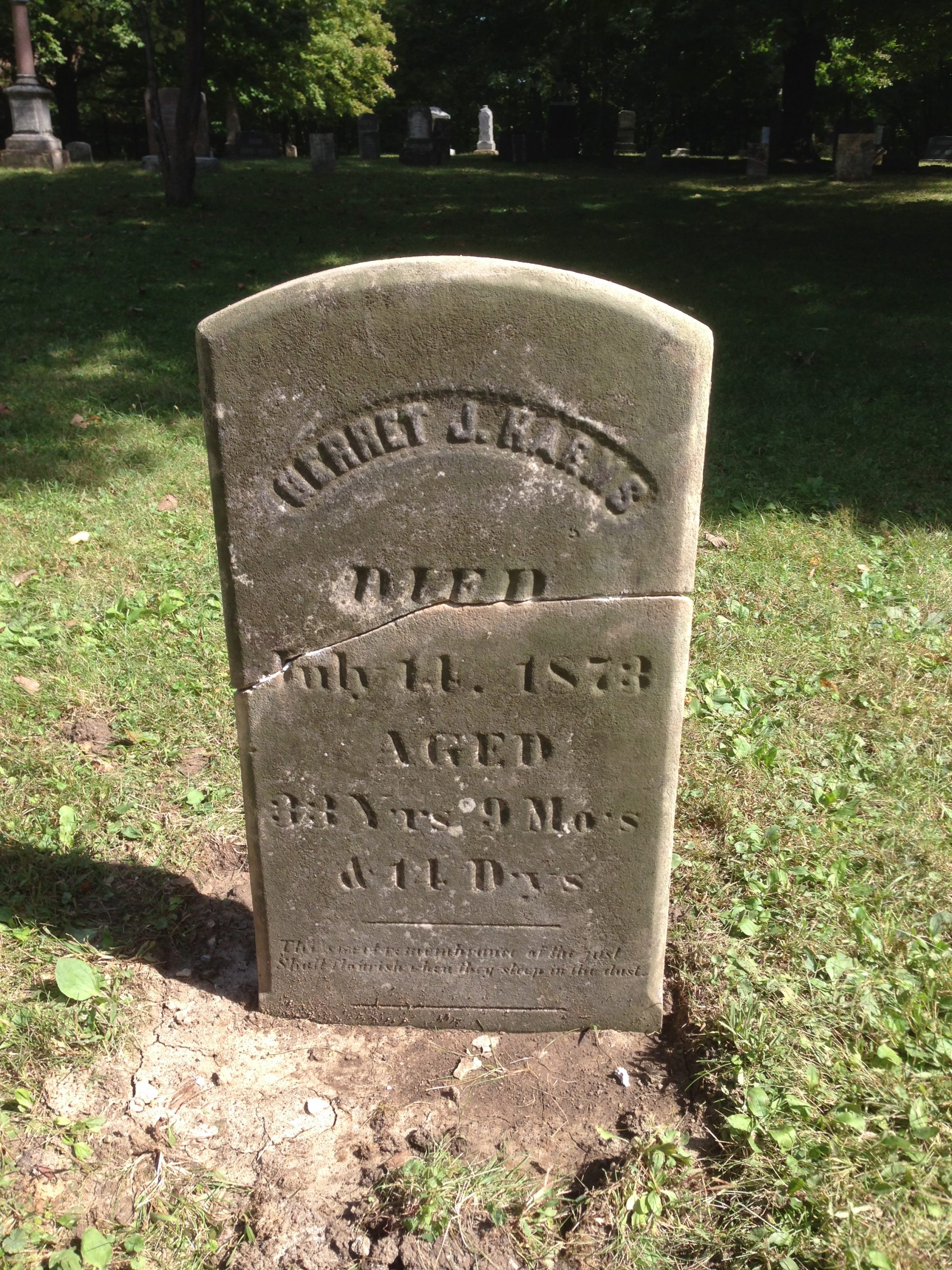 In 2014 and 2015 we repaired and restored a number of the grave markers in  the Dayton cemetery. The cemetery was 180 years old and over the years had  ...