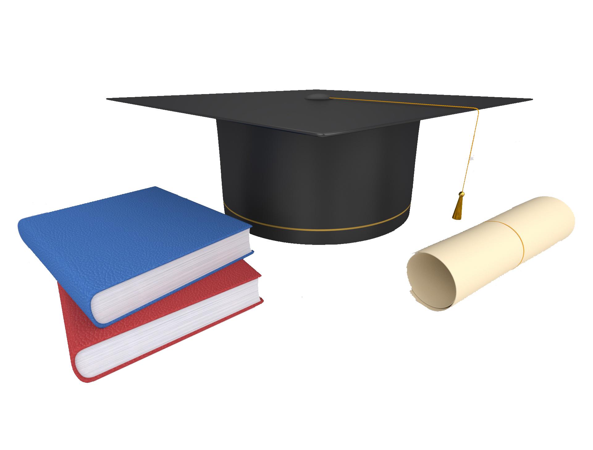 graduation cap & books
