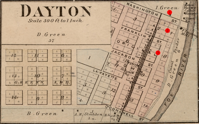 map of Dayton showing location of Dayton Green houses